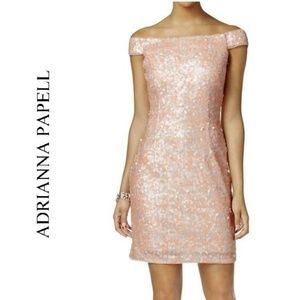 NWOT ADRIANNA PAPELL Sequin Evening Cocktail Dress